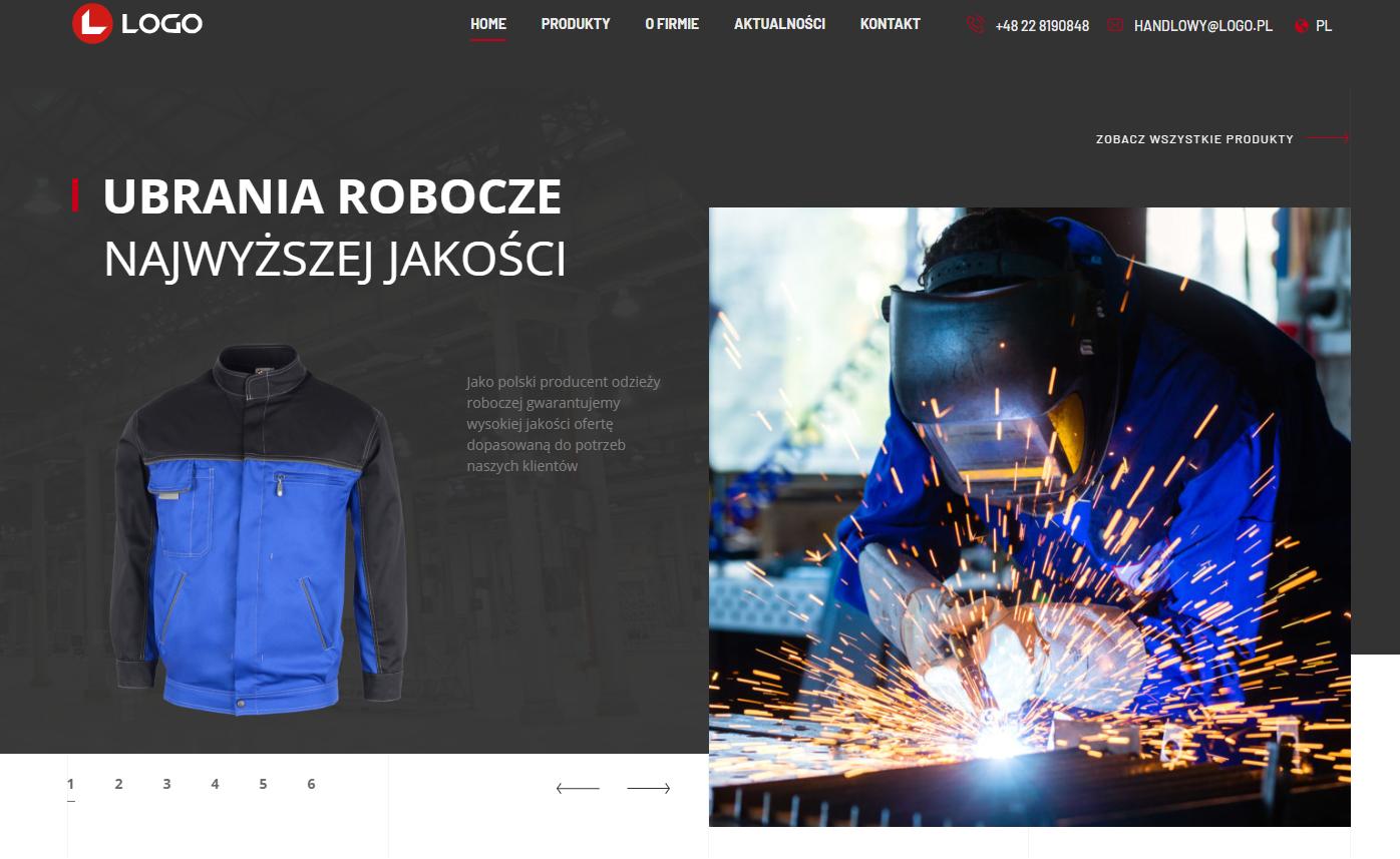 Zrzut strony głównej logo.pl - firma LOGO producent odzieży roboczej